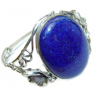 Blue Waves Lapis Lazuli Oxidized .925 Sterling Silver handcrafted Bracelet / Cuff