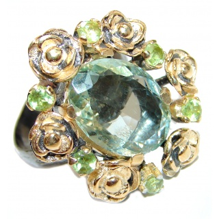 Huge Natural Rough Green Amethyst 14k Gold over .925 Sterling Silver handmade Cocktail Ring s. 7 adjustable