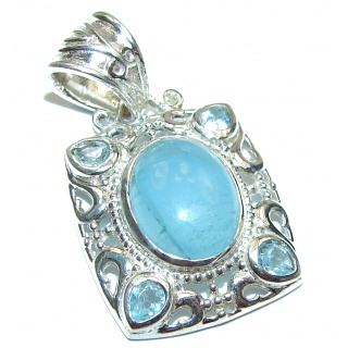 Genuine 4.5 ct Aquamarine .925 Sterling Silver handmade Pendant