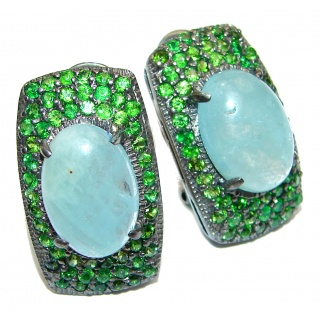 Classy Aquamarine Travorite Garnet Rhodium over .925 Sterling Silver handcrafted earrings