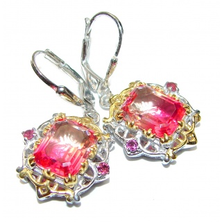 Pink Tourmaline color Topaz .925 Sterling Silver entirely handmade earrings