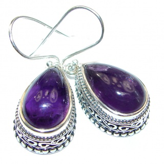 Genuine Amethyst .925 Sterling Silver handmade Earrings