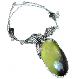 Exquisite Natural Moss Prehnite .925 Sterling Silver handcrafted LARGE necklace