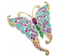Incredible Butterfly  Natural Kashmir Ruby  925 Sterling Silver Pendant Brooch