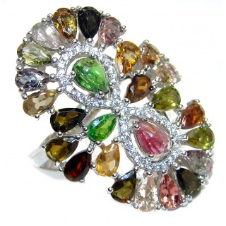 Greta Brazilian Beauty Tourmaline .925 Sterling Silver handcrafted Statement LARGE Ring size 8 1/4