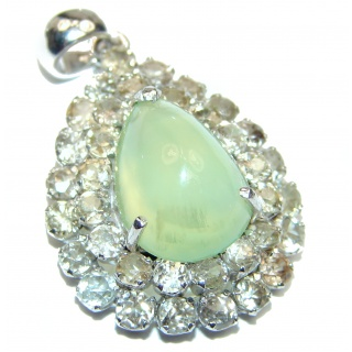 Beautiful genuine Prehnite Sapphire .925 Sterling Silver handcrafted Pendant-