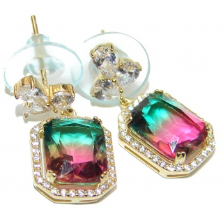 Absolutely charming Tourmaline 14K Gold over .925 Sterling Silver entirely handmade earrings