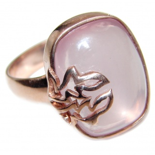 Authentic Rose Quartz 18k Gold over .925 Sterling Silver handcrafted ring s. 8