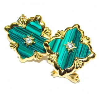 Outstanding Malachite Lucky Four Leaf Clover 18K Gold over .925 Sterling Silver Earrings