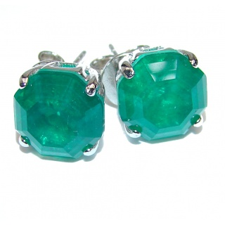 Authentic 9mm Colombian Emerald .925 Sterling Silver handmade earrings