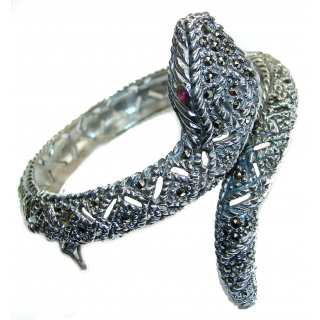 LARGE MASTERPIECE Cobra Marcasite brilliantly handcrafted .925 Sterling Silver handamde Bracelet