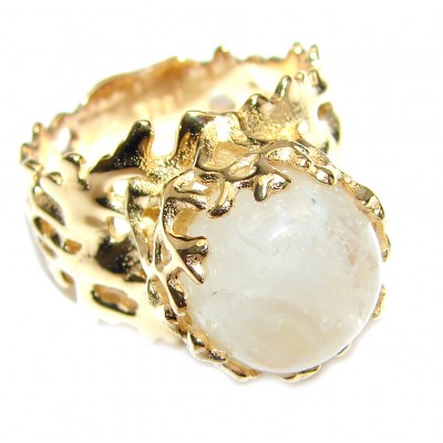 Fire Moonstone 18K Gold over .925 Sterling Silver handmade Ring size 6 1/2
