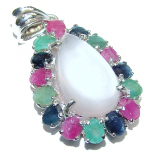Bellísima Authentic Rose Quartz Ruby Emerald Sapphire .925 Sterling Silver handcrafted Pendant