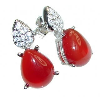 Incredible Red Agate .925 Sterling Silver handmade earrings