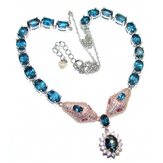 Cobra London Blue Topaz Ruby .925 Sterling Silver handmade necklace