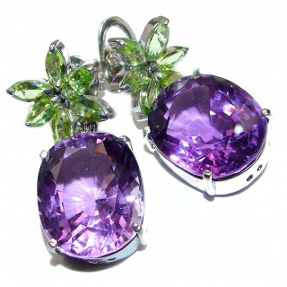 Luxurious Authentic 112ctw Amethyst Stunners .925 Sterling Silver handmade earrings