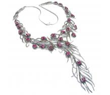 HUGE 73.6grams Peacock Feather design genuine Ruby  .925 Sterling Silver handcrafted Necklace