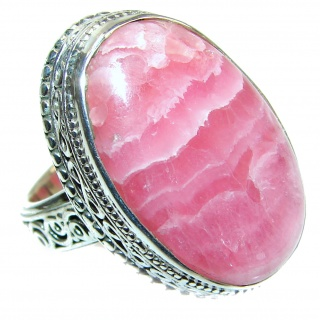 Large Argentinian Rhodochrosite .925 Sterling Silver handmade ring size 8