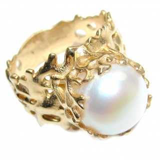 Large Fresh water Pearl 24K Gold over .925 Sterling Silver handcrafted Ring s. 8