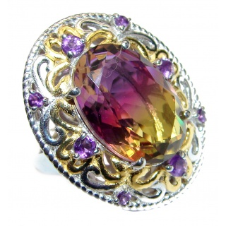 HUGE Oval cut BI-color Ametrine 14K Gold over .925 Sterling Silver handcrafted Ring s.7 1/4