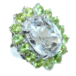 Royal quality Authentic White Topaz Peridot .925 Sterling Silver Statement ring size 7 3/4