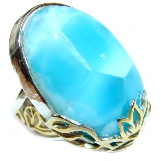 Vintage Design AAAAA QUALITY Natural Larimar .925 Sterling Silver handcrafted Ring s. 8 adjustable