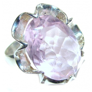 Spectacular genuine Pink Quartz .925 Sterling Silver handcrafted Ring size 8 3/4