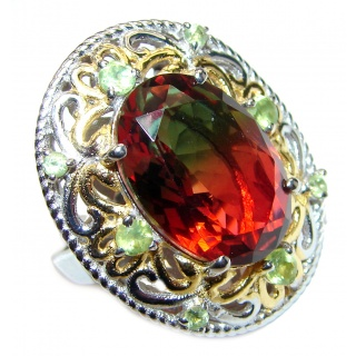 Huge Top Quality Volcanic Tourmaline 18 K Gold over .925 Sterling Silver handcrafted Ring s. 7