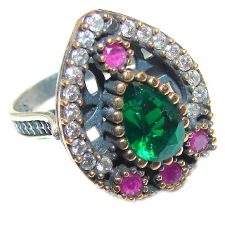 Victorian Style Emerald & White Topaz Sterling Silver Ring s. 6 3/4