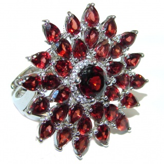 Large Natural Garnet .925 Sterling Silver Statement ring size 7 adjustable
