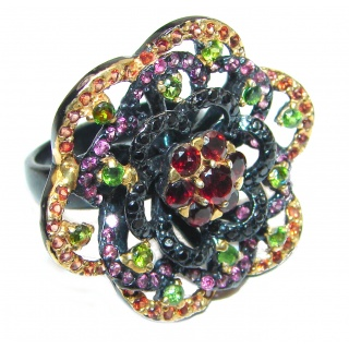 Large Genuine Ruby black rhodium .925 Sterling Silver handcrafted Statement Ring size 9