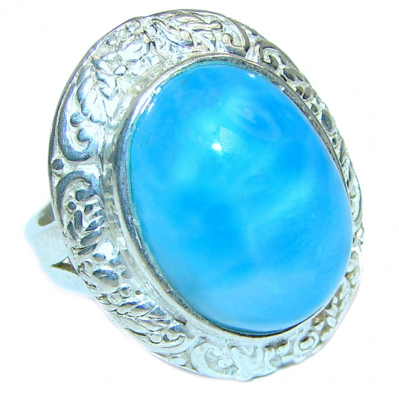 Vintage Design Best QUALITY Dominican Republic Larimar .925 Sterling Silver handcrafted Ring s. 8 1/4