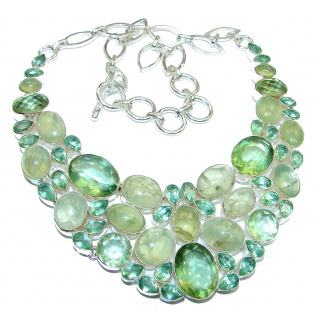 New Universe Genuine Moss Prehnite .925 Sterling Silver handmade necklace