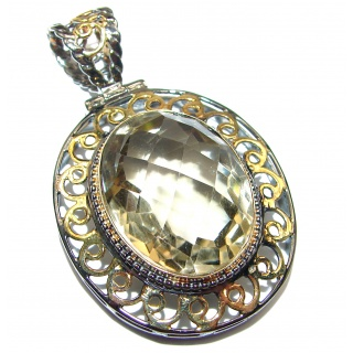 Carmen Beauty Smoky Topaz Gold black rhodium over .925 Sterling Silver handmade Pendant
