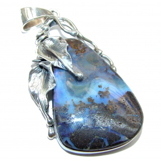 LARGE Perfection Authentic Australian Boulder Opal .925 Sterling Silver handmade Pendant
