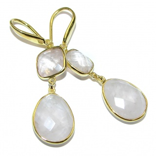 Exclusive genuine Rose Quartz 14K Gold over .925 Sterling Silver handcrafted earrings