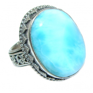 Vintage Design Best QUALITY Dominican Republic Larimar .925 Sterling Silver handcrafted Ring s. 6