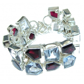 Splendid Authentic Garnet .925 Sterling Silver handcrafted Bracelet