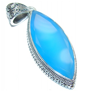 Huge Natural Chalcedony Agate .925 Sterling Silver handmade Pendant