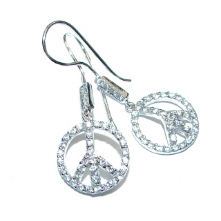 Peace White Topaz .925 Sterling Silver handcrafted earrings