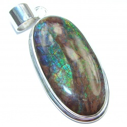 One of the kind genuine Canadian Ammolite .925 Sterling Silver handcrafted Pendant