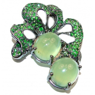 Beautiful genuine Prehnite Chrome Diopside Black rhodium over .925 Sterling Silver handcrafted Pendant Brooch