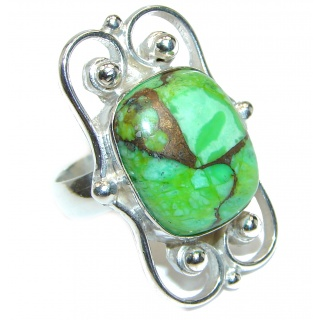 Huge Green Turquoise .925 Sterling Silver handcrafted ring; s. 7