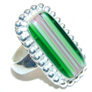 Dichroic Glass .925 Sterling Silver handcrafted Ring s. 7