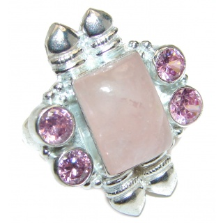 Authentic Rose Quartz .925 Sterling Silver handcrafted ring s. 7 1/2