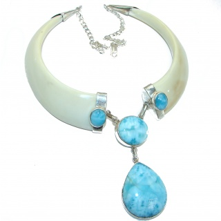 MY Heritage Larimar And Boar Tusks .925 Sterling Silver handmade HUGE necklace