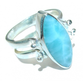 Reversible Larimar - Baltic Amber .925 Sterling Silver handcrafted Ring s. 7