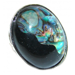 Dichroic Glass .925 Sterling Silver handcrafted Ring s. 5