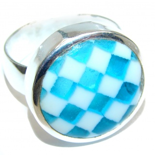 Dichroic Glass .925 Sterling Silver handcrafted Ring s. 11