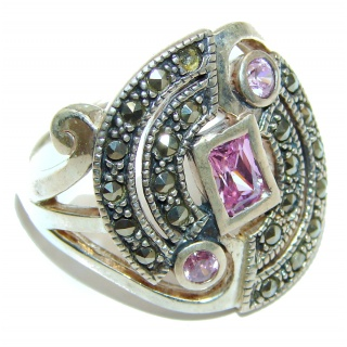 Fantastic Created Pink Kunzite Sterling Silver ring s. 9